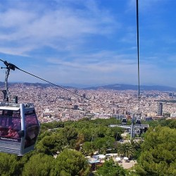 Barcelona, Spain – June 23, 2019: Cable car from Montjuïc to Drassanes at Barcelona Port.