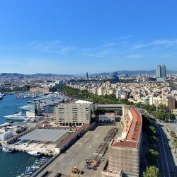 Barcelona, Spain – June 23, 2019: Skyline, port and beach views Cable car from Montjuïc to Drassanes.