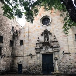 Barcelona, Spain – January 29, 2020: Front gate of Sant Felip Neri church
