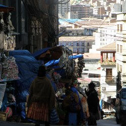 La Paz, Bolivia – August 19, 2013: View of Sagárnaga Street in La Paz