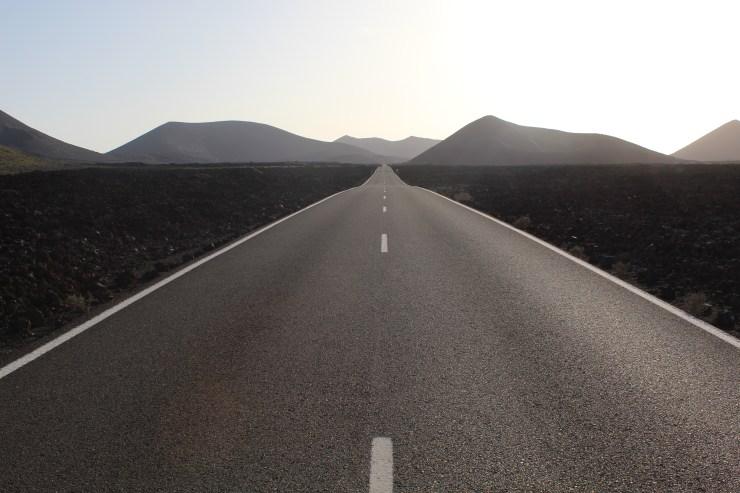 A road across Timanfaya on Lanzarote Island, Spain
