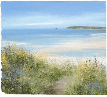 'A view from Godrevy Lighthouse', oil on panel, 39 x 33 cm, Amanda Hoskin