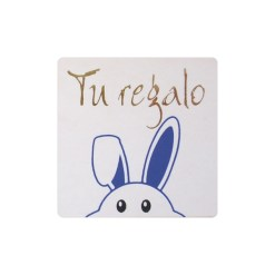Tu regalo pegatina conejo azul asomando