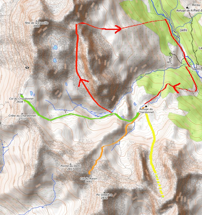 courses - itinéraires ski de rando à partir du refuge du Chardonnet