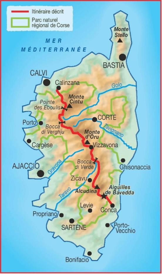 Carte GR 20 Traversée de la Corse