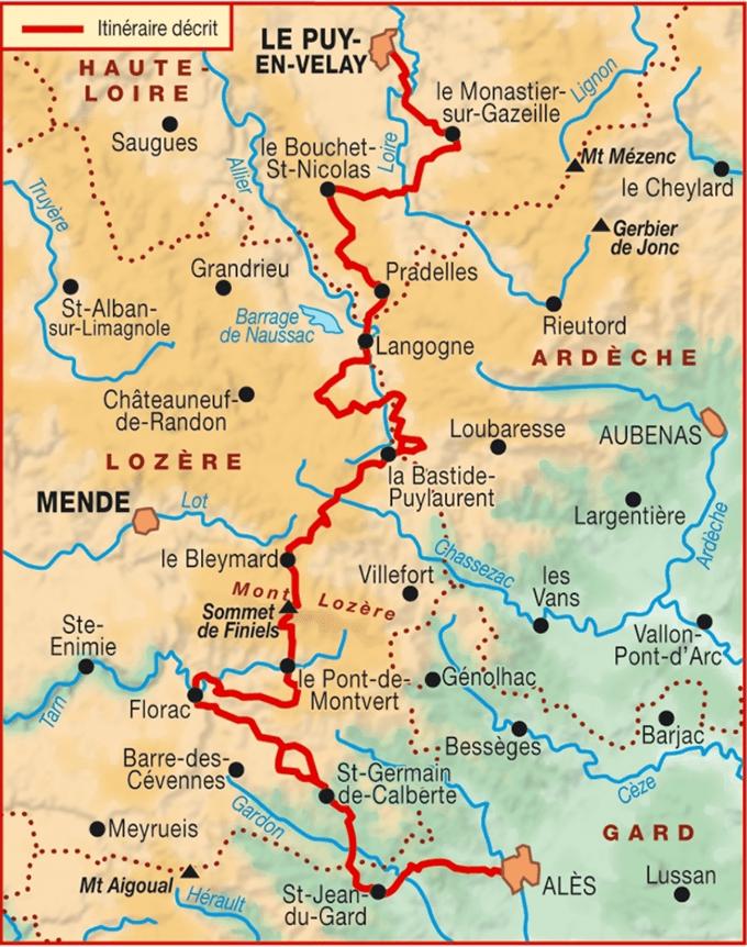 Carte GR 70 Chemin de Stevenson