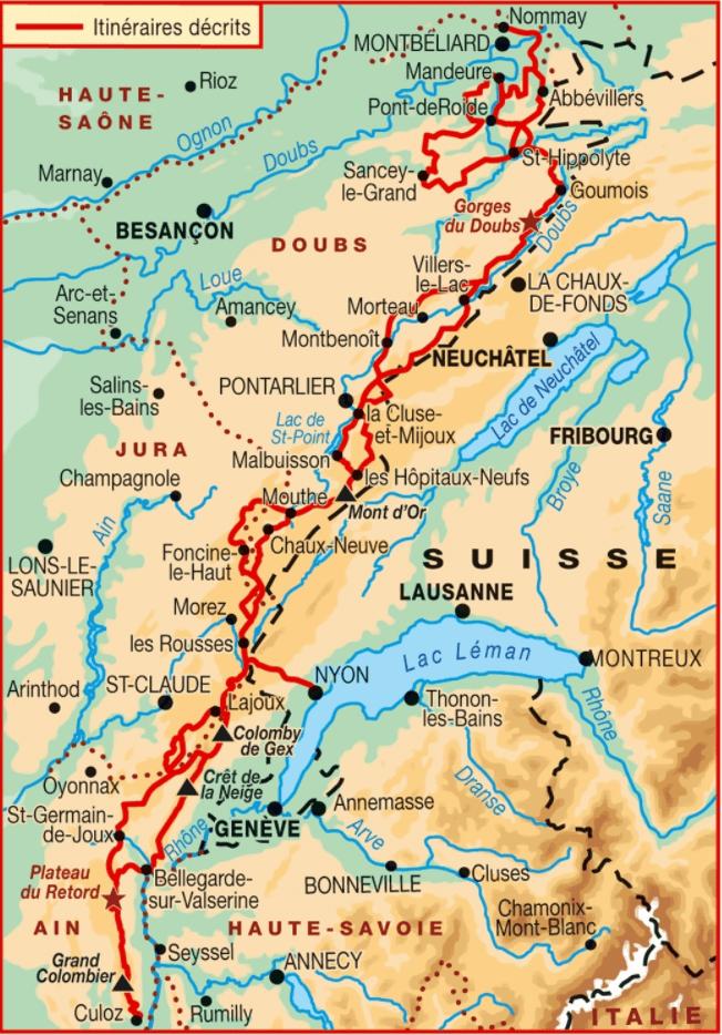 Carte GTJ grande traversée du Jura