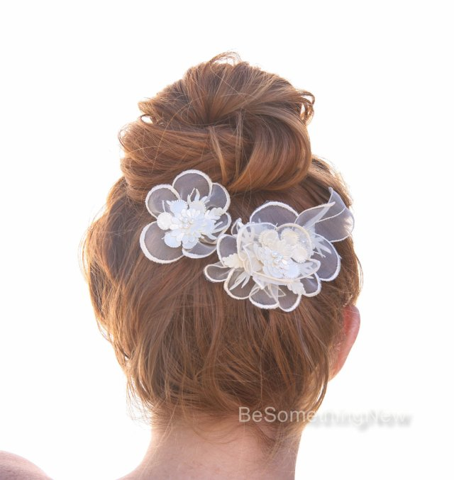 vintage lace wedding headpiece, flower hair accessories, bridal hair clip set wedding hair comb, flower wedding hair pins
