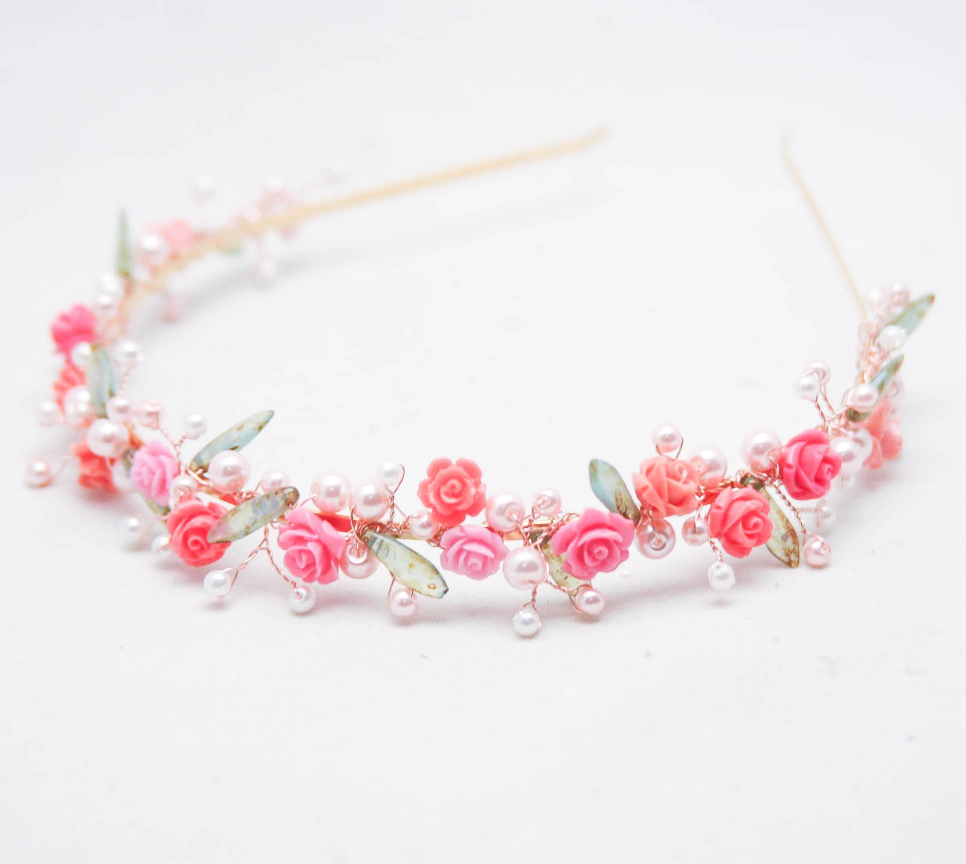 Flower Wedding Tiara In Pink Rose Gold Amp Green Marie