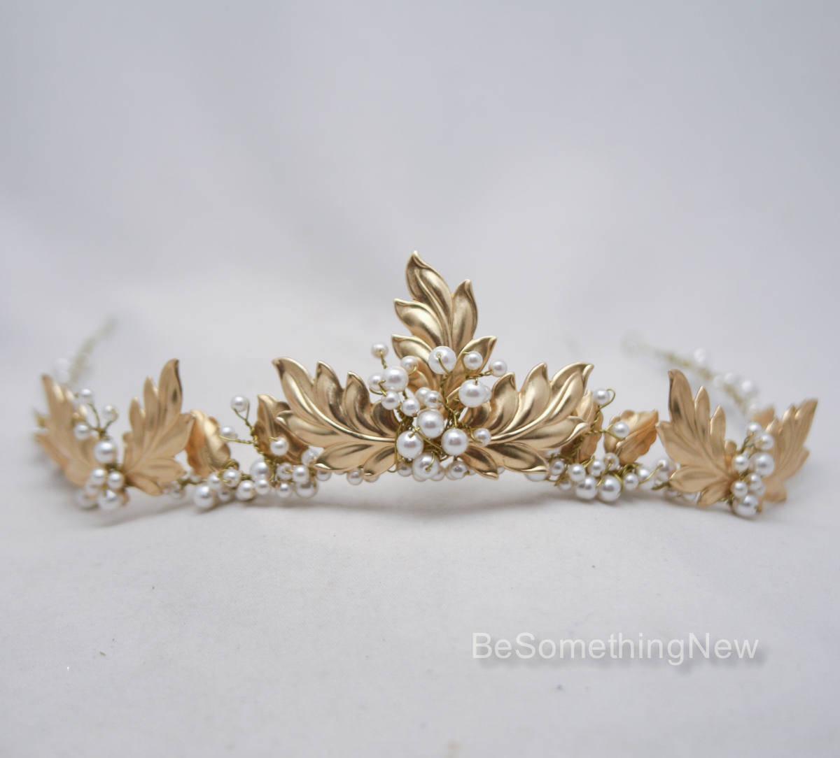 Gold Leaf And Pearl Wedding Crown Laurel Tiara Of Metal