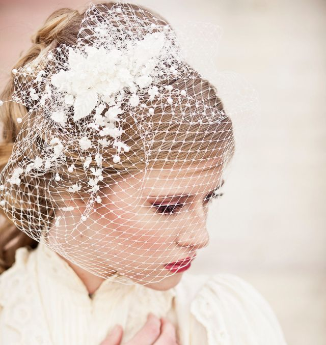 wedding birdcage veil with vintage flower sprays wedding headpiece