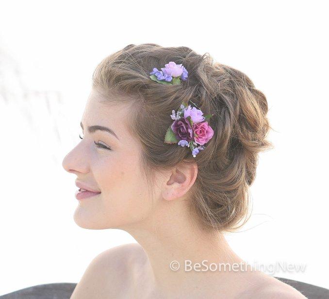 set of flower bobbie pins, bridesmaids flower hair accessories, wedding hair, vintage wedding hair, flower girl, flower hair accessories