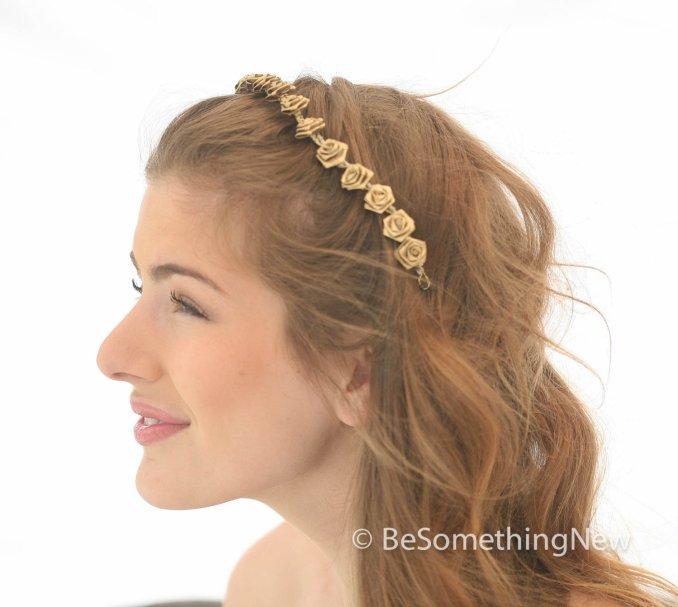 gold metallic flower headband, boho flower crown, gold hair wreath, wedding hair, bohemian festival headband