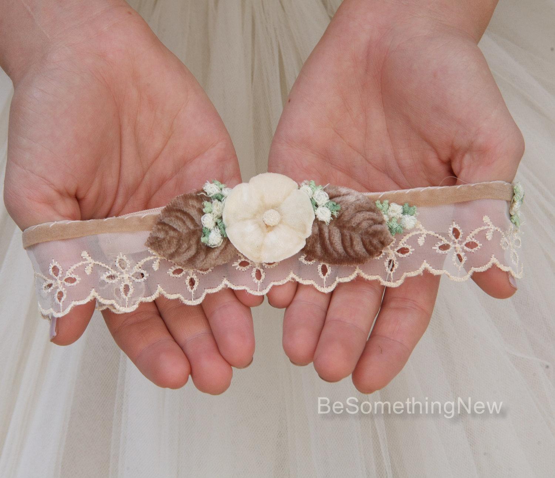 Vintage Lace Garter in Champagne and Ivory Wedding Garter