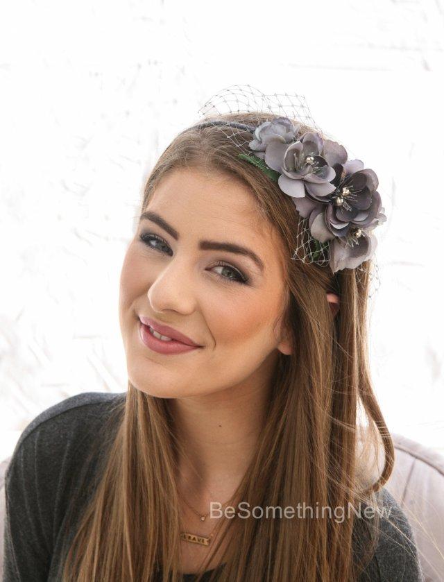 gray flower headband, headbands for women and weddings wedding hair bridal hair accessory wedding accessories, bridesmaid hair flower crown