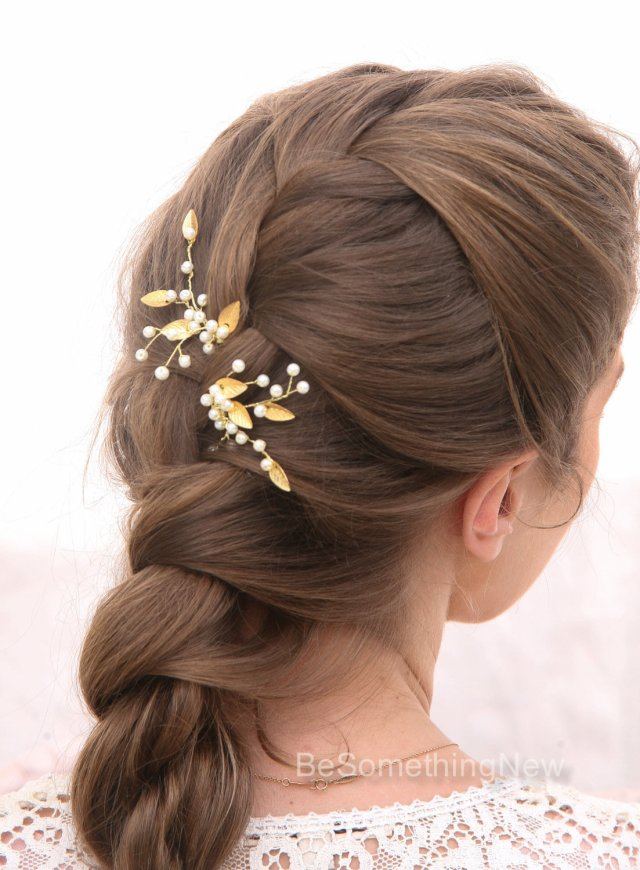 pearl and gold metal leaf bridal hair pin set wedding hair accessories,