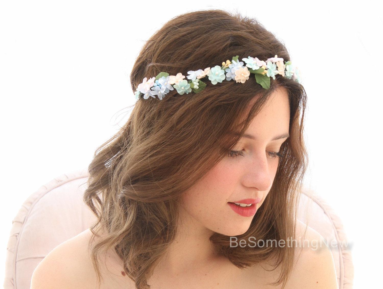 pastel flower crown wedding
