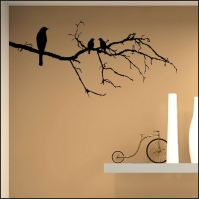 LARGE BIRD BIRDS ON BRANCH TWIG WALL STICKER TRANSFER