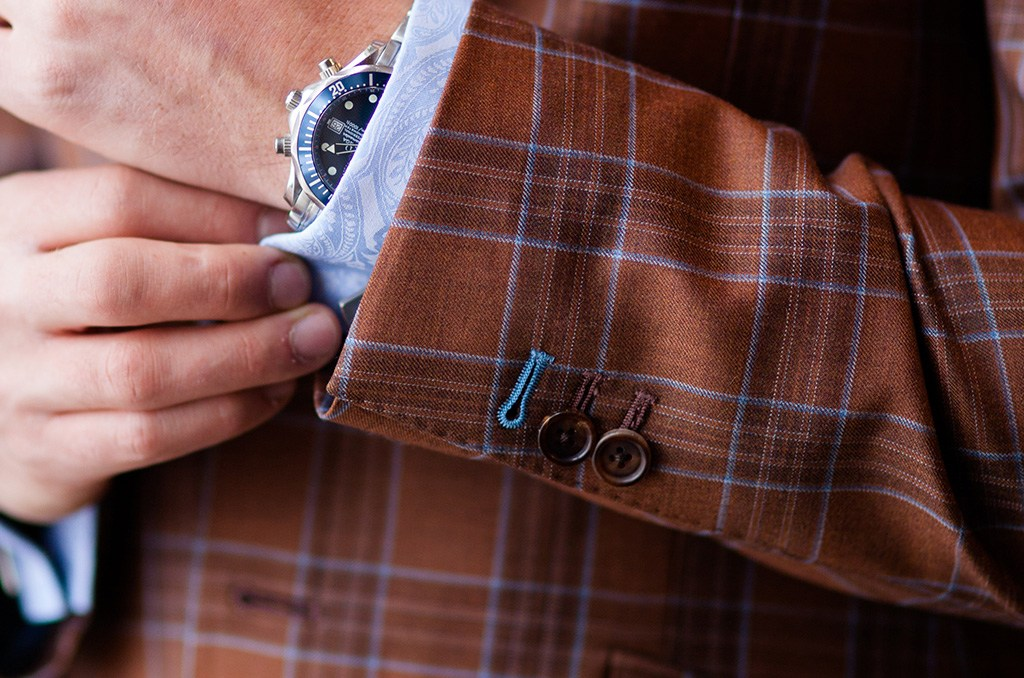 pick stitching on a custom jacket and an example of sport coats in the summer