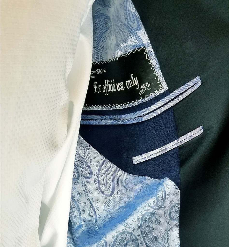 monogramming in a wedding suit jacket lining