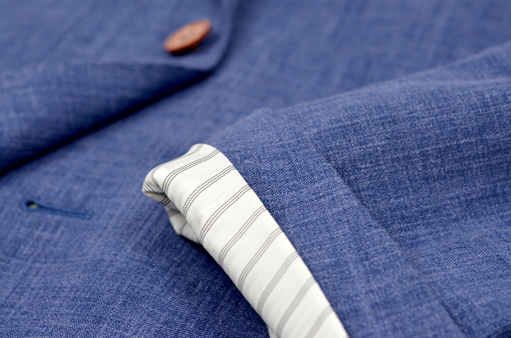 summer weight sportcoat detail shot