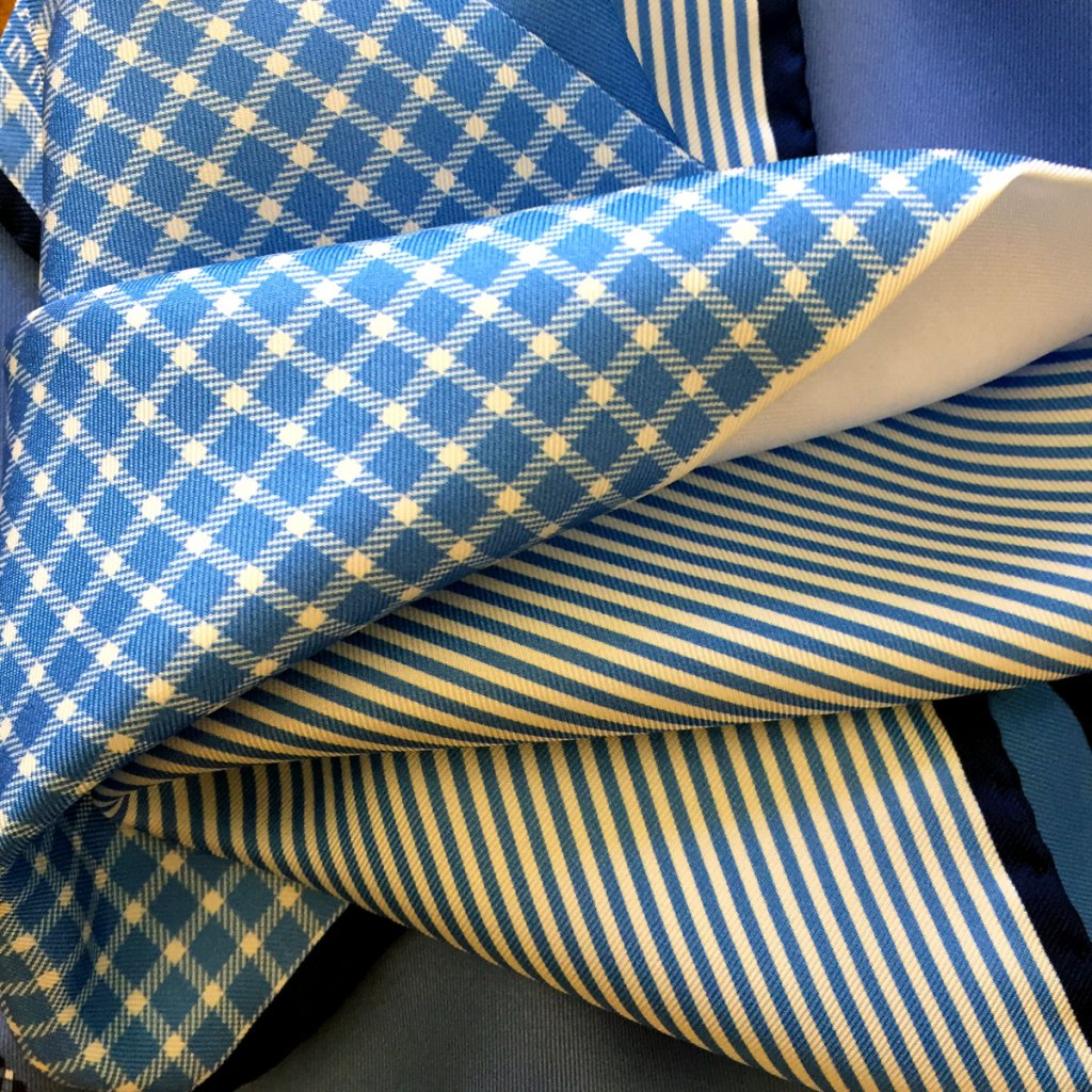 blue check pocket squares and how to wear a pocket square in the office