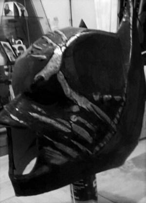 Battle worn Batman TDK custom-made mask progress. Image copyright of Bespoke Fantasy Costumes, 2016.