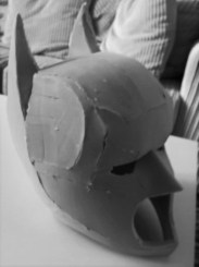Custom-made Batman mask - foam build in progress. Copyright of Bespoke Fantasy Costumes 2016.