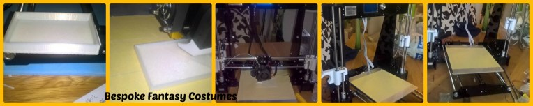Our new 3D printer in action on it's first test runs! Image by Bespoke Fantasy Costumes, 2016.