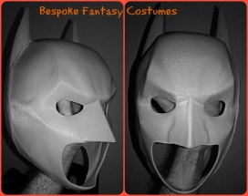 3D printed Batman mask in progress. This is our second attempt at a 3D printed Batman mask. Here it has been printed and constructed by Bespoke Fantasy Costumes, The next steps are to finish the product ready for photographing, display and sale. This mask goes with the 3D printed Batman shoulders already shown on the site. Photography by Bespoke Fantasy Costumes, 2017.