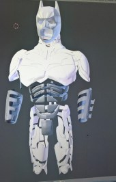 3D print design for the Batman costume, photographed by Bespoke Fantasy Costumes, 2017.
