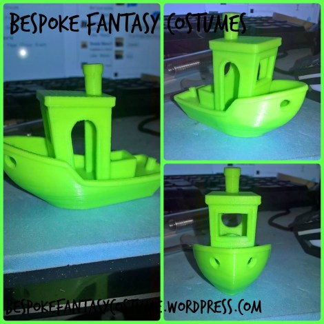 Collage of our latest Benchy model testing the latest updates to the 3D printer and designing technology. Printed by Bespoke Fantasy Costumes, photographed by Bespoke Fantasy Costumes, April 2017.