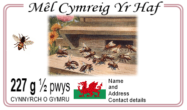 Welsh language honey label