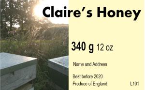 Claire's honey label