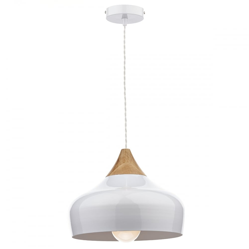 Nordic Style Gloss White Ceiling Pendant Light With Wood