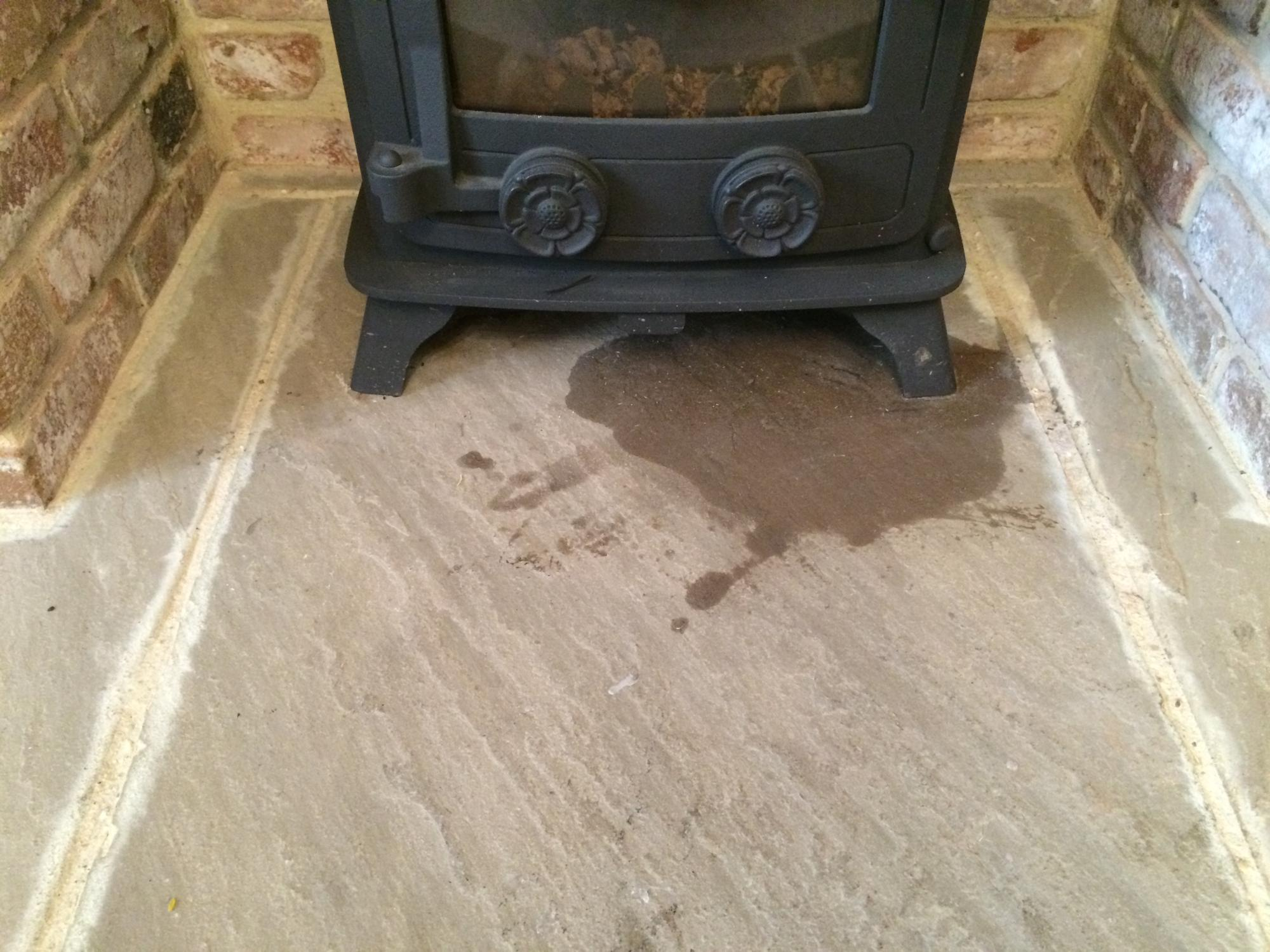 York stone fireplace hearth oil stain removal  Bespoke Repairs