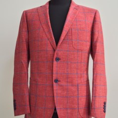 custom salmon linen windowpane blazer