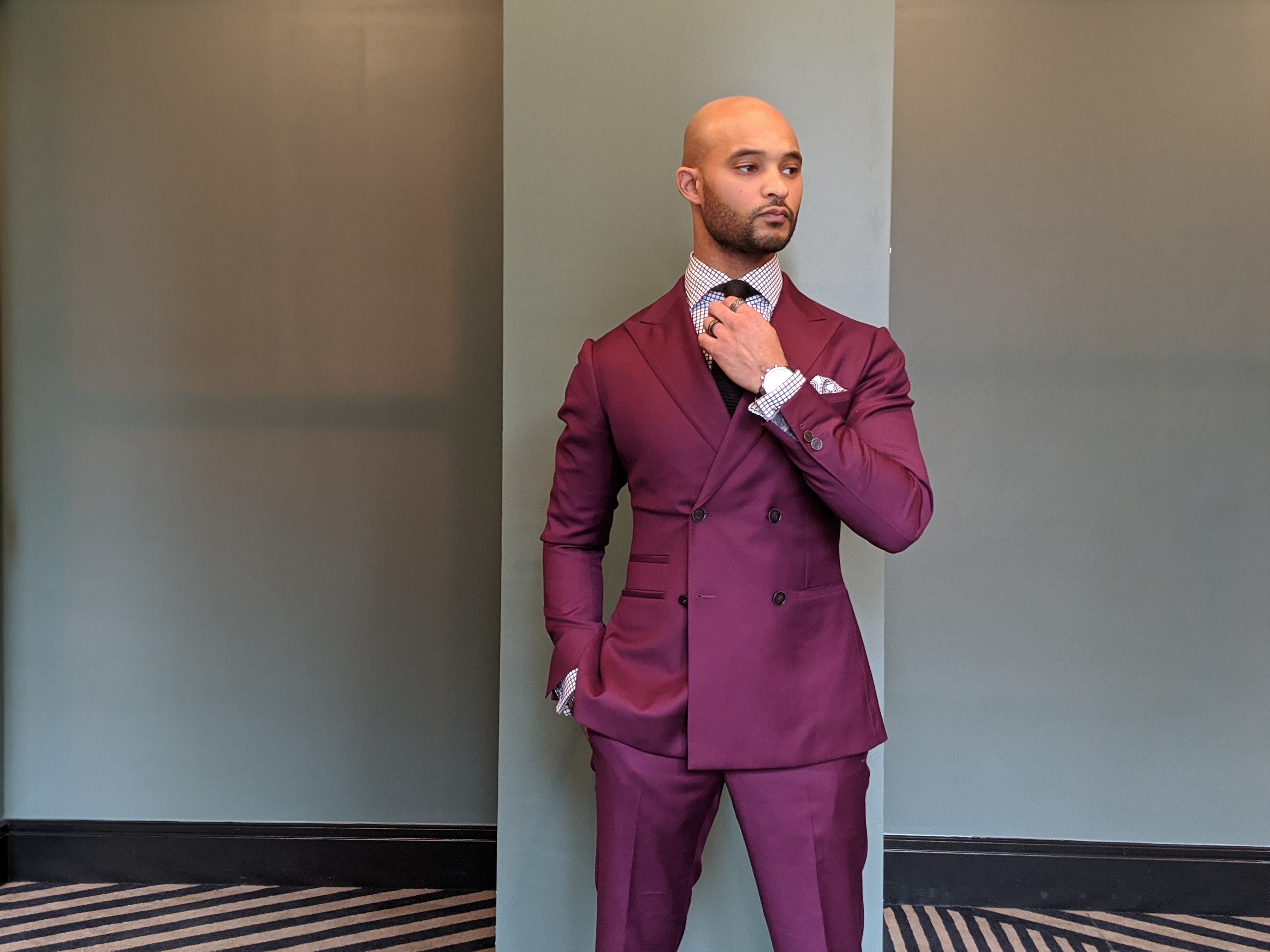bespoke eggplant double-breasted suit