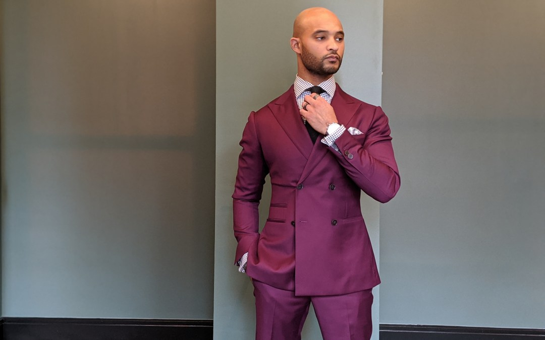 Custom-Made Eggplant Double-Breasted Suit