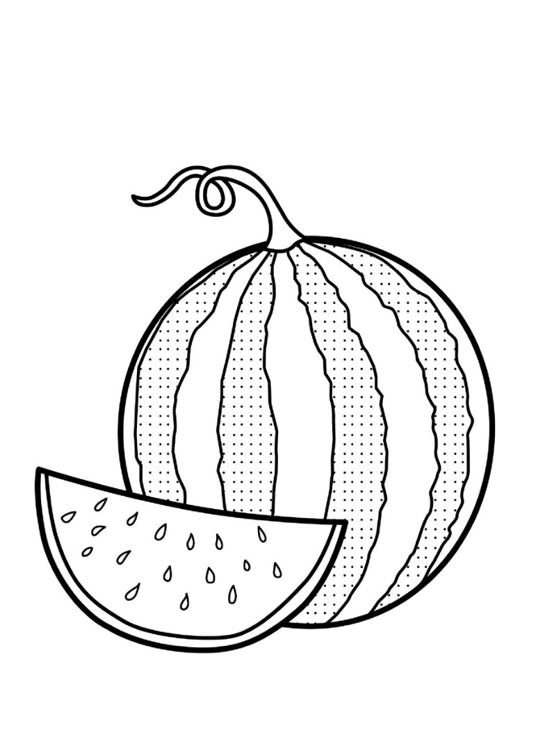 Watermelon coloring pages to download and print for free