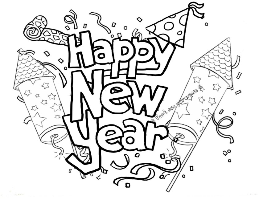 happy new year coloring pages to download and print for free