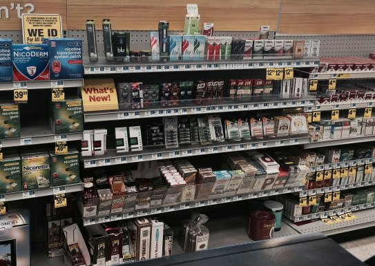 Ecigarettes on drug store shelf