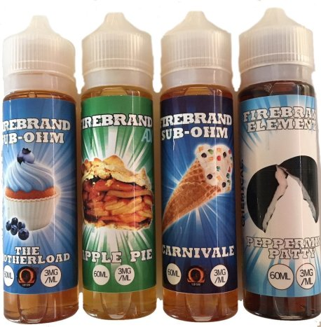 Firebrand large sized e-liquids bottles in 4 flavors