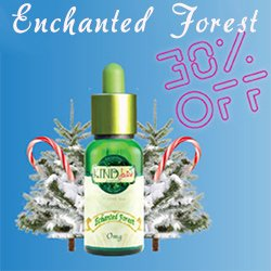 bottle of Kind Juice organic eliquid with fir trees and candy canes