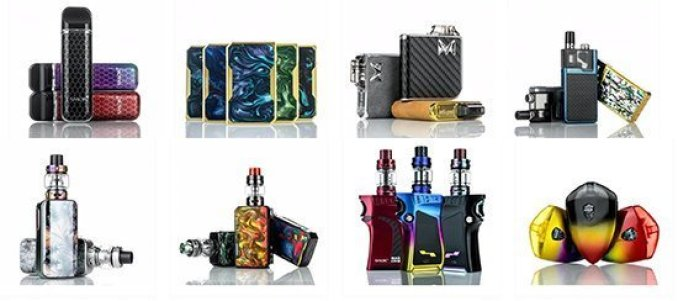 Different styles of vaporizers in various colors
