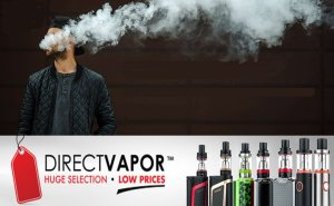 Direct Vapor logo with man vaping