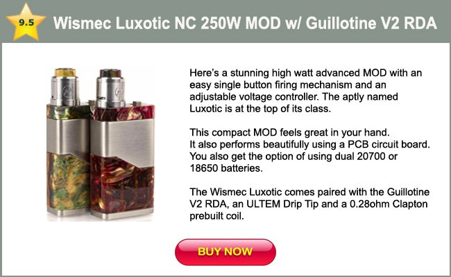 Wismec Luxotic NC 250W Kit with Guillotine V2 RDA-mini review