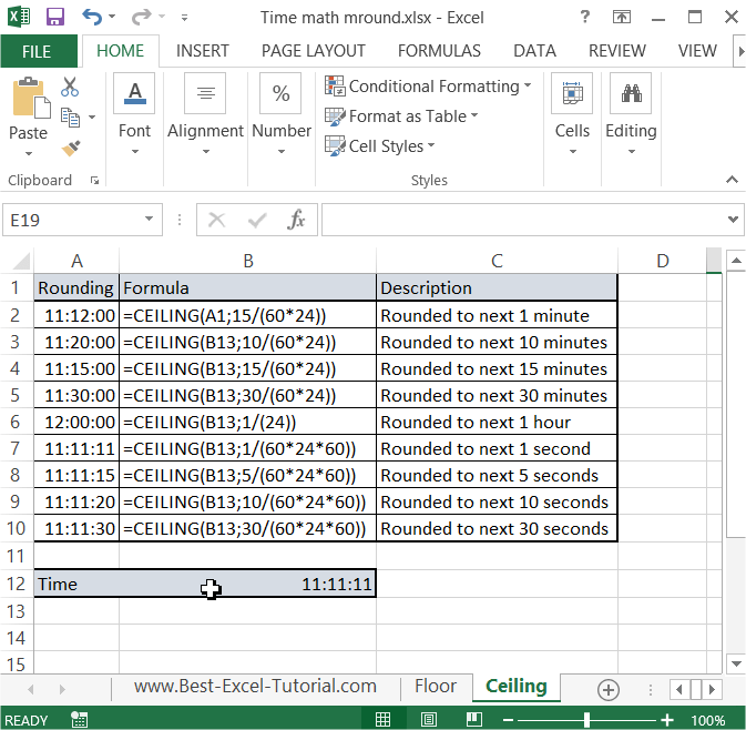 Excel Ceiling Vs Math
