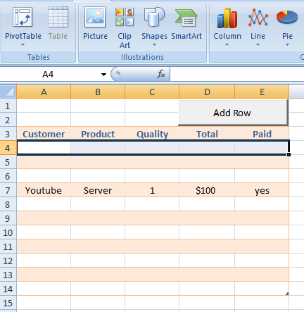 Inserting Add Rows Through Vba Code Excelprovegue