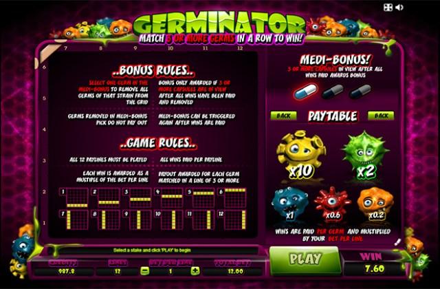 Игровой автомат Microgaming Germinator (Герминатор) таблица выплат